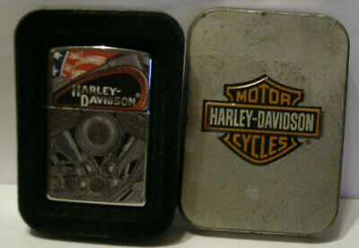 Used Zippo Harley Davidson Cigarette Lighter With Motor & Flag  With Box