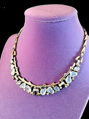 Exquisite 1948 Crown Trifari Goldtone Floral Moonstone Fruit Salad Rs Necklace