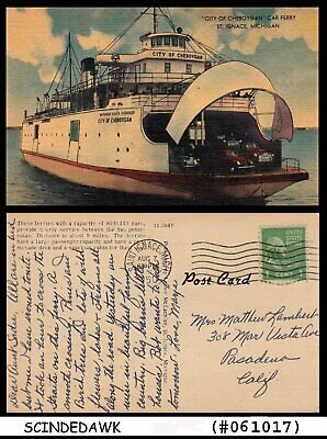 UNITED STATES USA - 1850 CAR FERRY PICTURE POSTCARD with STAMP
