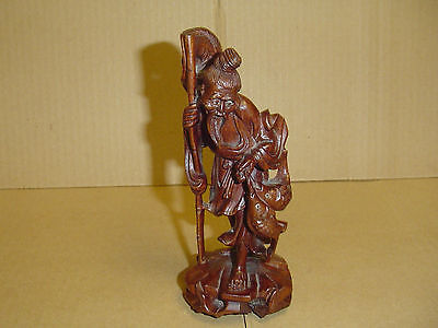 """Vintage Hand Carved Wood Oriental Fisherman Statue - Very Detailed - 6 1/2"""" tall"""