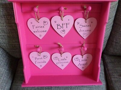 Shabby Chic Wooden Pink Display Box With 6 Hanging Heart Shaped Wall Sign Plaque