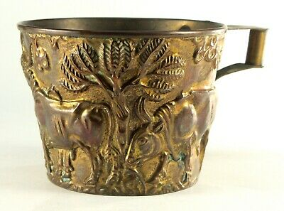 -19th c.Greek Gilt Brass Embossed Vessel Cup After the Antique, Scythian Bulls