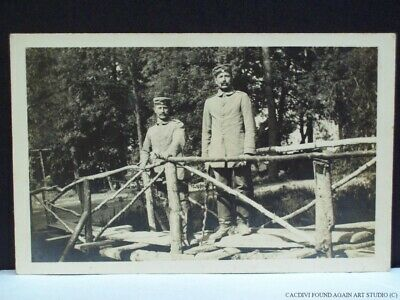 WWI German Soldiers Real Photo Postcard on Bridge Military Army Uniform War RPPC