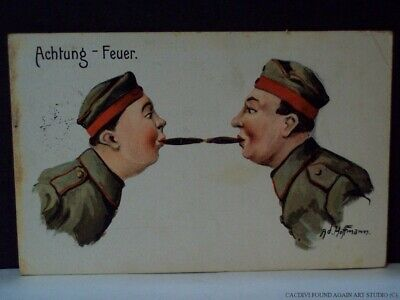 WWI German Soldiers Light Cigars Caution Fire Achtung Feuer Military Postcard