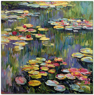 Water Lilies - Hand Painted Claude Monet Oil Painting On Canvas Wall Art 20x20""