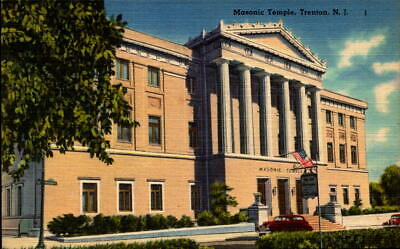 Postcard Masonic Temple Trenton New Jersey  Linen Unused