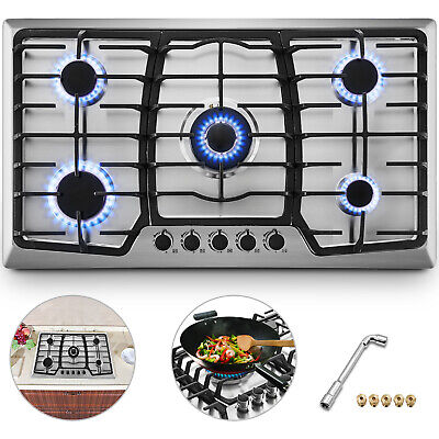 """36"""" 5 Burners Built-In Stove Top Gas Cooktop Kitchen Easy to Clean Gas Cooking"""