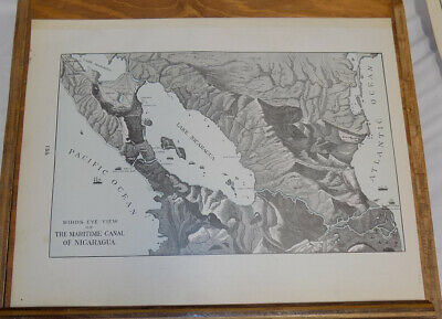 1900 Antique COLOR Map///BIRDS EYE VIEW OF MARITIME CANAL OF NICARAGUA