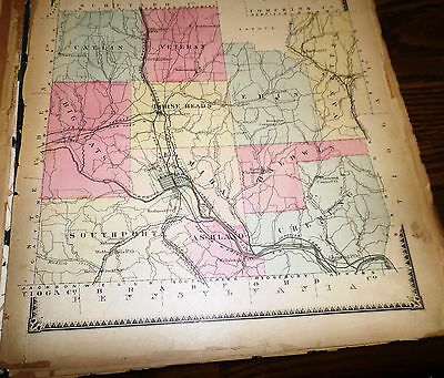 Original 1869 Map Chemung County Ny Shows The Towns And Villages
