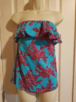 faae02bdd81 LILLY PULITZER Wiley Tube Top Ruffle Strapless Blue Pink Womens Size ...