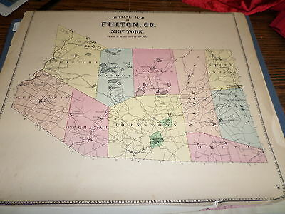 Original 1868 Map Fulton County Ny Shows The Towns And Villages