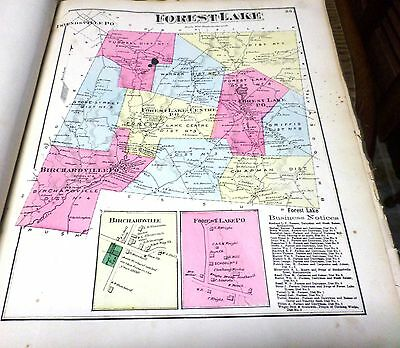 Original 1872 Maps Forest Lake & Birchardville Pa Susquehanna County