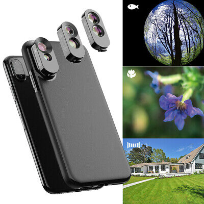 Camera Lens Fisheye Wide-angle Telephoto Macro Case Cover For iPhone XS MAX/X/XS