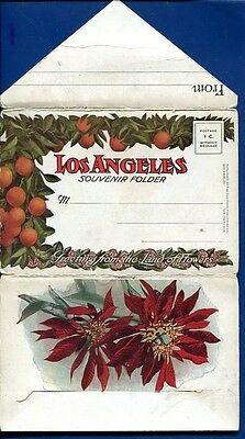 Los Angeles Oranges Land of Flowers California ca postcard folder