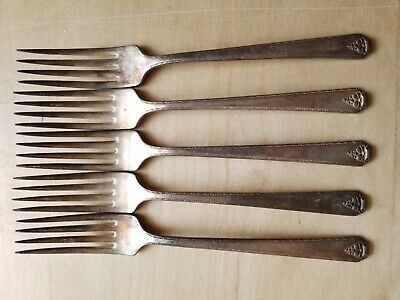 "5 Vintage Collectible Forks 7.5"",Prestige Plate,Silver Plated"