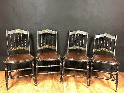 Set of 4 Antique Hand Painted Side Chairs / Dining / Kitchen / Dinette