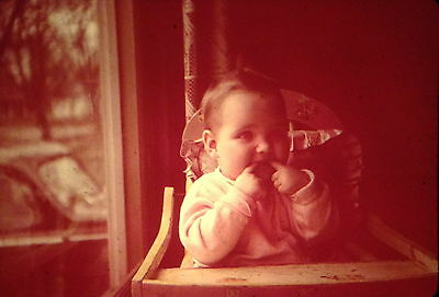 ANSCO COLOR 35mm Slide Baby Girl Sitting In High Chair Old Car 1948 L@@K!!!