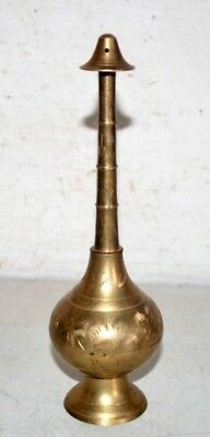Rose Water Bottle Antique North Indian Brass Hand Carved Islamic Perfume Bottle