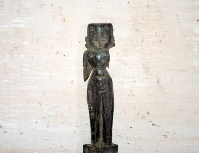 Antique Old Wooden Hand Carved Decorative 1800's South Indian Putali Figure
