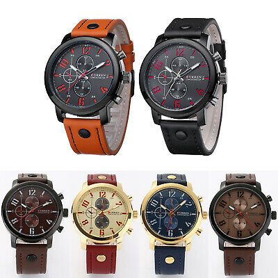 Waterproof Men's Fashion Leather Stainless Steel Sport Analog Quartz Wrist Watch