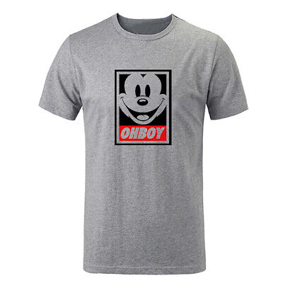 0930474a OhBoy Mickey Mouse Funny Obey Parody Dope T-Shirts Unisex Graphic Tee Shirt  Tops