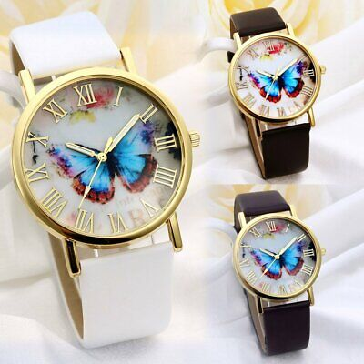 New Butterfly Women Girl Lady Classic Geneva Leatheroid Analog Quartz Wristwatch