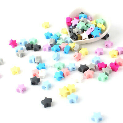 10/30PC Star Silicone Beads Baby Teether Bead Teething Toys Pacifier Chain Chew