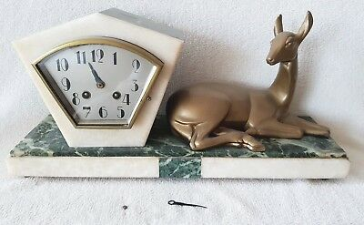 Mantel Clock Art Deco Rare Shelf French Movement Pendulum Marble Base Signed