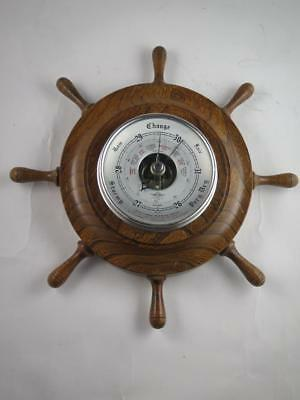 VINTAGE SHORTLAND SMITHS SB BAROMETER In Oak Ships Wheel Case Nautical