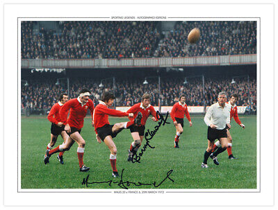 RUG 003: HAND SIGNED 16x12 PHOTO EDITION RUGBY 1972 DAVIES & LLEWELLYN WALES