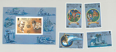 Turks & Caicos #671-675 Youth Year, UN, Halley's Comet, Fairy Tales 4v & 1v S/S