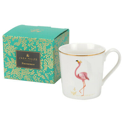 Sara Miller Piccadilly Set Flamboyant Flamingo Fine Bone China Mug Gift Boxed