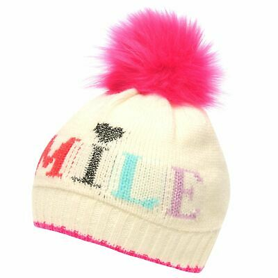 Crafted Essentials Kids Girls Slogan Hat Child Bobble Pattern Winter Warm Faux