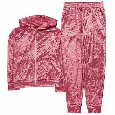 LA Gear Kids Girls Velvour Tracksuit Junior Fleece Long Sleeve Lightweight
