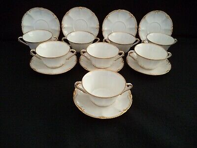 French Haviland china 8 bouillon cups saucers gold on white sm bowls Sch no 133