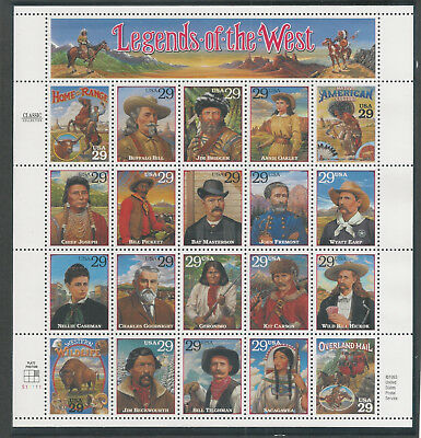 2869  Legends of The West Sheet Mint NH