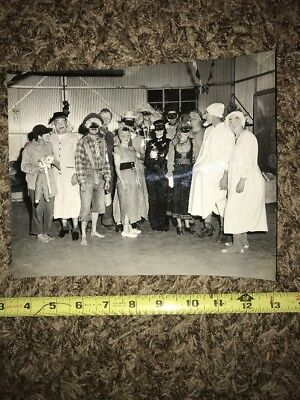 1950s Vintage Adult Halloween Costume Contest Creepy Mask Photo Black & White