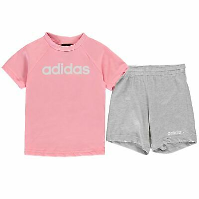 adidas Kids Girls T Shirt and Shorts Set Infant Clothing Pants Trousers Bottoms