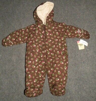 809e6a959 NWT $65 OshKosh 6-9 Months Girls Brown Floral Polyester One Piece Snowsuit