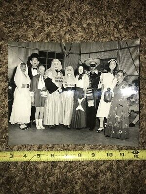 1950s Vintage Adult Halloween Costume Contest Creepy Masks Black & White Photo