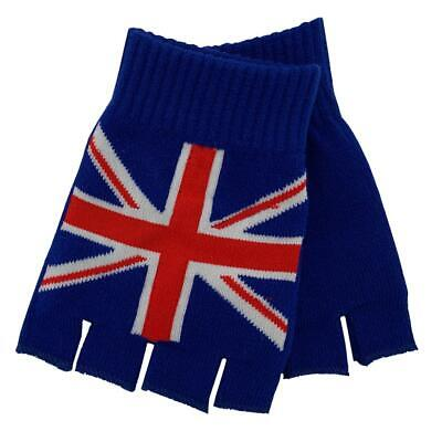 UK British Flag Knitted Fingerless Gloves Hand Warmers Cold Weather Mittens