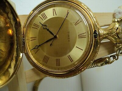 Timex Pocket Watch (Wind Up) Gold Tone Very Ornate Chain