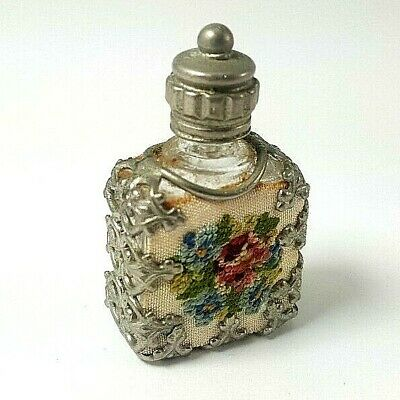 Antique MINIATURE FILIGREE ENCASED EMBROIDERED PERFUME BOTTLE with Dipper