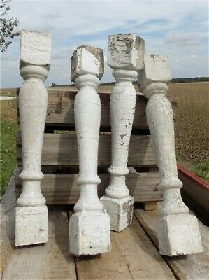 4 Balusters White Wood Architectural Salvage Spindles Porch Post House Trim Q