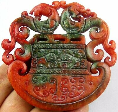 S24363 Beautiful red Chinese old jade carved dragon 72x8mm pendant