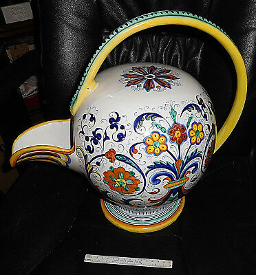"""Ricco Deruta Italian Wine Jug Covered Round Top Pitcher Pottery Italy 15"""" x 17"""""""