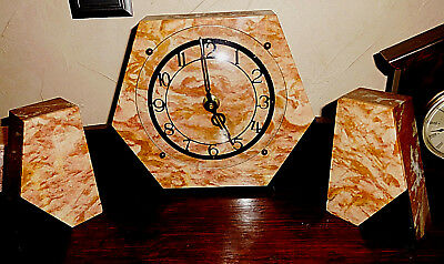Vtg Art Deco Clock Marble Glass Case Trapezoid Garnitures Hand Move Black Mauve