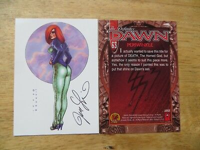 2002 Definitive Dawn Card # 63 Periwinkle Signed Joe Linsner, With Poa