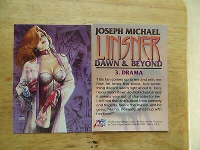 1995 Dawn And Beyond Card # 3 Drama Signed Joseph Linsner,  With Poa