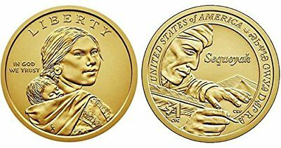 2017 P&D Sacagawea Native American Indian One Dollar U.S. Mint Sequoyah Money
